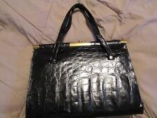 Vintage Vassar Black alligator leather lined large handbag purse satchel bag