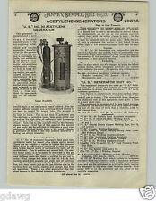 1924 PAPER AD US No. 30 Acetylene Generator # 7 Specs Images