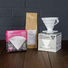 Hario V60 02 Starter Kit (White Dripper, 40pcs Filters & 250g of Fresh Coffee)
