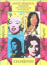 ANDY WARHOL & Celebrities W/ Cow Wallpaper Souvenir Sheet MNH - Somalia E51