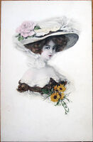 1910 Postcard: Woman with Very Large Hat & Flowers-hair