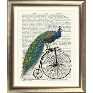 ART PRINT ON ANTIQUE DICTIONARY BOOK PAGE Peacock Bird Vintage Bicycle Picture