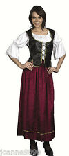Ladies Medieval Tavern Wench Victorian Tudor Pirate Fancy Dress Costume Outfit
