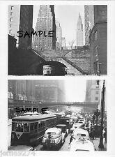 NYC TROLLEYS 42nd St & 1st AV & GRAND CENTRAL VANDERBILT PL 1945 2 PHOTOS FreShp