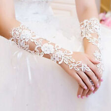 White Woman Lace Fingerless Gloves Bride Formal Prom Bridal Mittens Bridesmaid