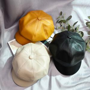 Women Ladies Baker Boy Flat Hat PU Leather Newsboy Hat Octagonal Ivy Visor Cap