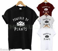 POWERED BY PLANTS T SHIRT VEGAN EAT FRUIT VEGETARIAN ANIMAL LOVER FASHION TUMBL