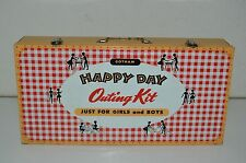 Vintage 1960s Gotham Happy Day Outing Kit Picnic Large Metal Lunchbox Set C8+