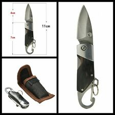 Camping Black Ebony Handle Stainless Steel Blade KeyChain Folding Knife