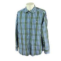 Tommy Bahama Men's Island Modern Fit Long Sleeve Blue Check Shirt Large