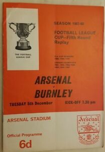 1967/68 FOOTBALL LEAGUE CUP ARSENAL v BURNLEY - 5th Round Replay 5th December