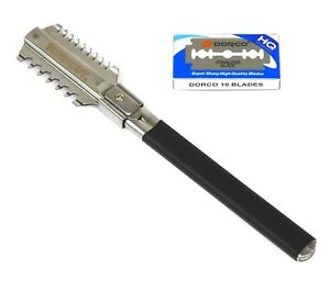 Hair Cutting Razor Hairdressing Trimming Thinning Double Side with Ten Blades