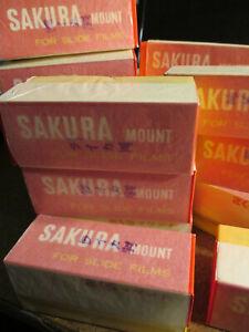 "New Box of 25 SAKURA Slide Film Mounts Paper 2 x 2"" * Finger Pressure Paste RARE"
