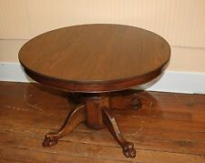 American Carved Solid Oak Wood Lion Feet Small Round Kitchen Table Furniture