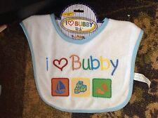"Blue ""I Love Bubby"" Boy's Embroided Terry Bib"