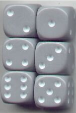 NEW Dice Set of 6 D6 (16mm) - Opaque Gray w/ white ink