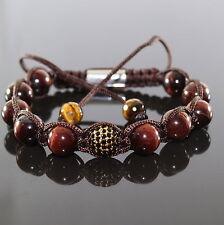 Herren Perlen Armband Zircon Beads Rot Tiger Männer Shamballa verstellbar