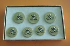 Set of 7 Vintage Golf Theme Brass Clothing Buttons: Golf Clubs & Ball Image
