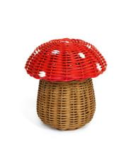 Storage Basket Mushroom Rattan With Lid Decorative Bin Decor Hand Woven Shelf