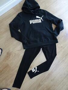 PUMA ladies black 2 piece leggings & sweatshirt jumper UK 14 - 16 EXCELLENT