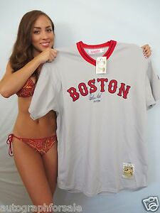 Carlton Fisk signed 1975 Red Sox Mitchell and Ness jersey HOF 2000 #/27 STEINER