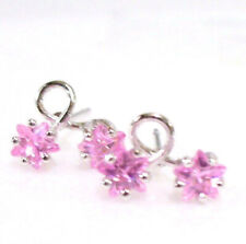 Women Flower Climber Stud Earrings Pink Lilac Simulated Diamond White Gold Plate