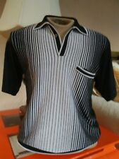 "Vtg ""Barry Martin - Ft. Lauderdale"" Black/Grey Short Sleeve Knit Sweater M Italy"
