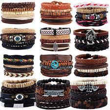 Newest Unisex Men Women Handmade Leather Bracelet Braided Bangle Wristband Set