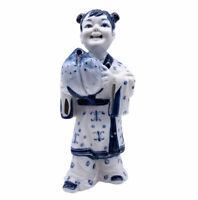 "Andrea By Sadek Asian Child Girl w/ Peach Vintage Porcelain Figurine Japan 7.4""H"