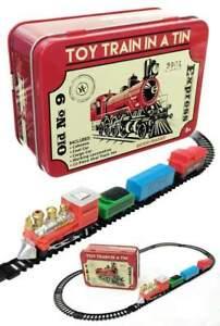 Toy Train Set in a Tin : Red Box Locomotive Mini Set