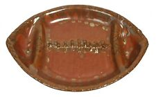 Mudd NC Signed Red Stoneware Football Sport Serving Dish Plate