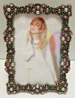 """4X6"""" Antique Vintage Style Gold Brass Purple Crystals Jeweled Picture Frame"""
