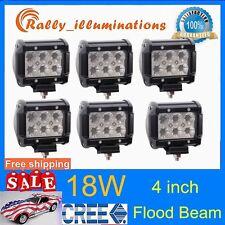 6pcs 4INCH 18W CREE LED WORK LIGHT BAR FLOOD DRIVING SUV ATV JEEP TRUCK BOAT RLY