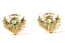 9ct Gold Peridot Scottish Thistle Stud earrings Gift Boxed Studs Made in UK