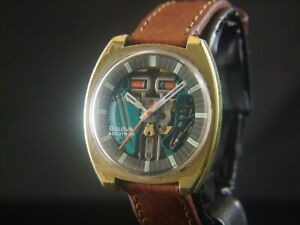 Bulova Accutron Spaceview NO Cal.214 Gold Tone NOT WORKING PARTS OR PROJECT