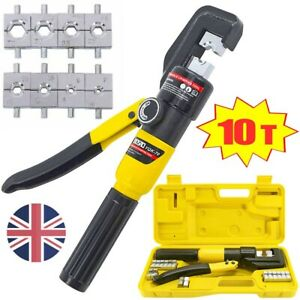 10 Ton Hydraulic Crimper Crimping Tool Dies Wire Battery Cable Wire Lug Terminal