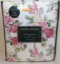NEW Laura Ashley 3pc FULL/QUEEN Cotton Quilt Set LIDIA White/Pink-Multi Floral