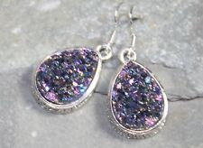 SILVER Vintage Style Purple Blue Titanium Druzy Teardrop Earrings WP10713