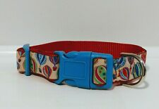 "Dog Collar Sz 11""-15 "" adjustable. 1""Wide w/ Hot Air Balloon Motif-Summer Color"