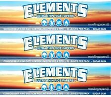 3x Elements King Size Rolling Papers Slim Connoisseur W/Tips USA Shipper