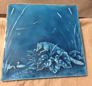 "Minton Hollins & Co Tile Works Blue Art  8"" Tile 1880s ""Fox Hunting Duck"" #6"