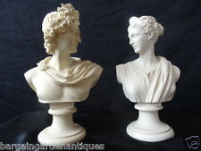 2 Ancient Greek Parian Style God Busts Apollo & Aptemis Sculpture Centrepieces