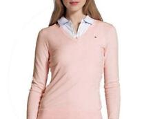 $69 Tommy Hilfiger Women's V Neck Cotton shirt-Sweater, Pink, Medium