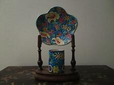 Antique French Longwy enamel cloisonne ceramic pottery match holder & dish 2item