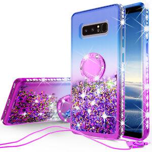 Samsung Galaxy Note 8 Liquid Glitter Phone Case Girls with Ring Kickstand Purple