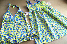 JUICY COUTURE SMOCKED SUN DRESS + SWIM SUIT YELLOWS HEARTS & DOVES -  L(14)