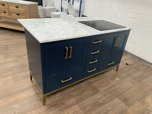 Rubeza 1500mm Anatolia Kitchen Island With Carrara marble Top With Zanussi Hob