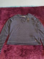 New Women's HOLLISTER Strappy Slim Crop T-Shirt Size M Navy stripe White