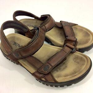 TEVA Men's Brown Leather Waterproof RIVER Sandals HIKING Trail SPORT Shoes 13