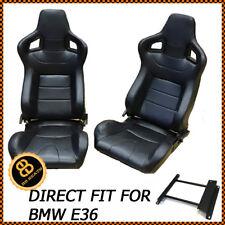 Pair bb6 Reclining titling Bucket Sports Racing Seats Black + SUB IMAGES bmw e36